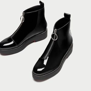 New Zara faux patent ankle boots 39 red bottom